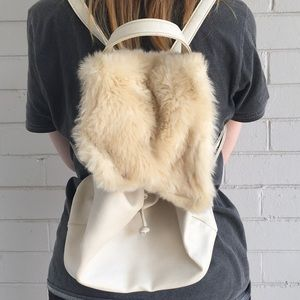 Pavement mini pleather backpack with faux fur